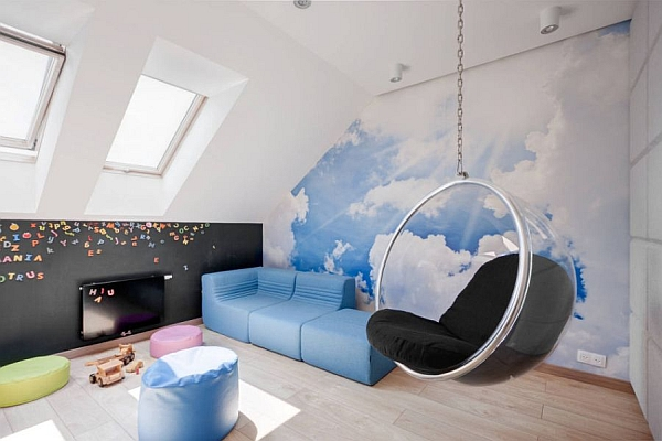 Iconic-And-Playful-Decor-Inspirations-By-Eero-These-Modern-Playroom-With-The-Bubble-Chair-Laminate-Flooring-Glass-Window-Blue-Sofa