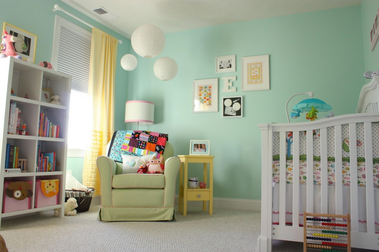 best baby room colors with green painting bookshelves for baby room